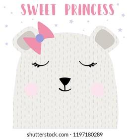 text bear star tee illustration baby girl art vector