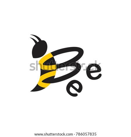 Text Bee Symbol Logo Vector Stock Vector Royalty Free 786057835