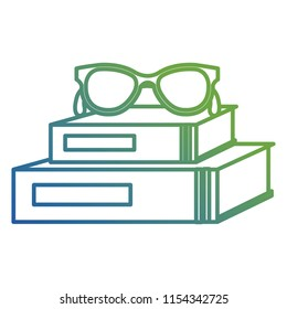 text books school with glasses
