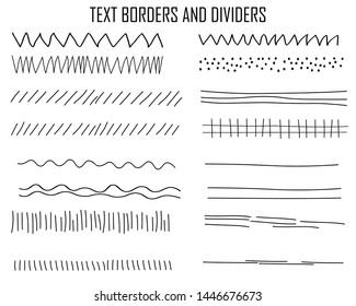 Text borders and dividers black collection. Vector set.