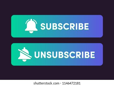 Text Box and Subscribe Button Template with the notification bell icon. Unsubscribe button with the forbidden notification bell icon. Reminder icon. News subscribe button.
