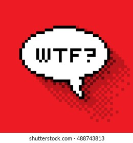 """Text bubble with """"WTF?"""" phase, flat pixelated illustration. - Stock vector"""