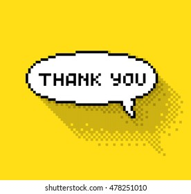 """Text bubble with """"thank you"""" phase, flat pixelated illustration. - Stock vector"""