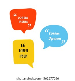 Text bubbles with quotes colorful vector illustration