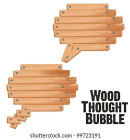 text bubbles with wood plank, vector illustration