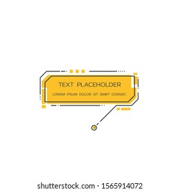 Text callout bubble line style vector. Infographic speech bubble. Consultant badge with text. Yellow text box with lines and dots on white background.