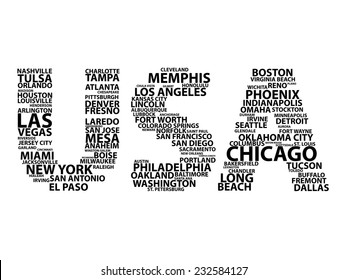 "Text concept with US cities in ""USA"""