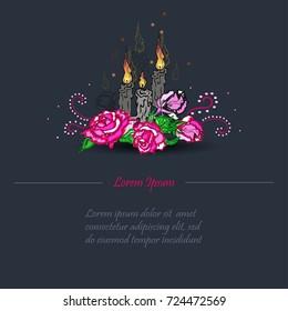 Funeral Card Candle Burning Rose Sign Stock-Vektorgrafik (Lizenzfrei ...