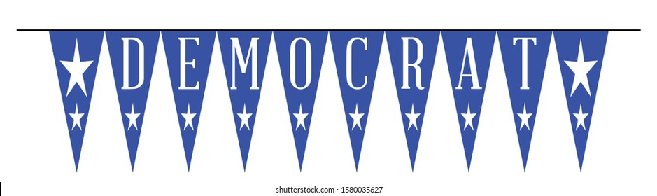 The text Democrat as a line of blue bunting on a white background