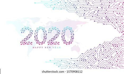 Text design Christmas and Happy new year 2020. Graphic background communication 2020. Connected lines with dots. Computer motherboard vector background with circuit board electronic elements.