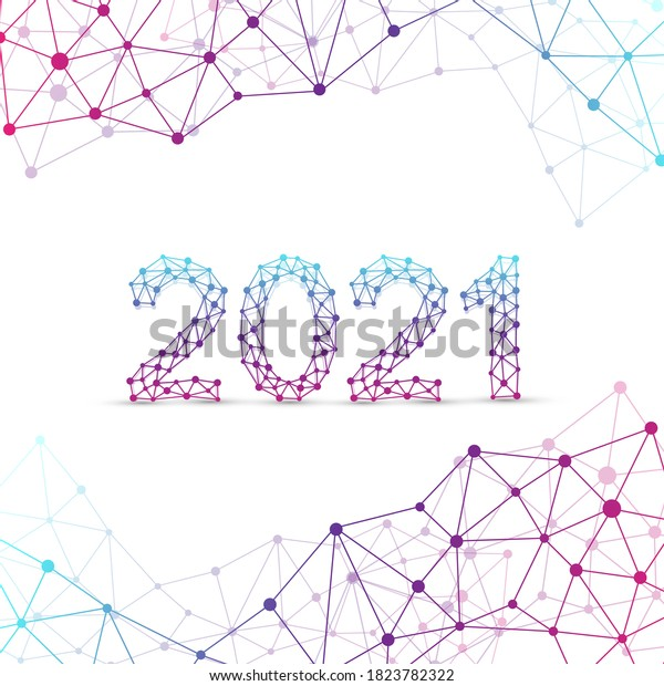Text design Christmas and Happy new year 2021. Graphic background communication 2021. Connected lines with dots. Design element for presentations, postcard, flyers, leaflets and posters, illustration