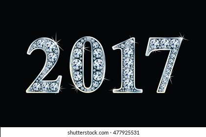 Text  design from diamonds, concept for new year 2017. Vector illustration.