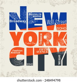 Text Design for New York City Concept on Abstract Ecru Background. Vector illustration.