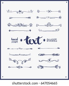 Text dividers hand drawn