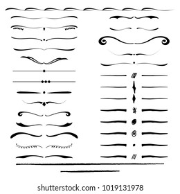 Text dividers. Hand drawn collection of vector dividers, bumpers, frames, ornaments.