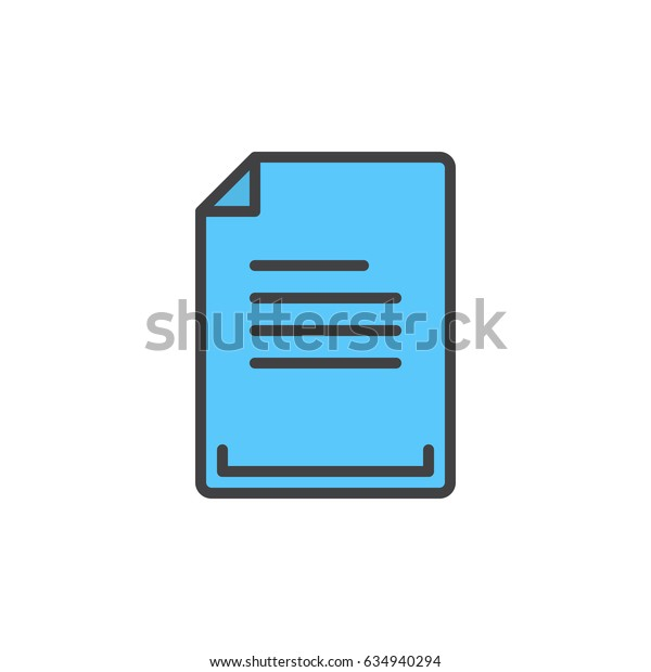 Text document filled outline icon, line vector sign, linear colorful pictogram. Symbol, logo illustration. Pixel perfect