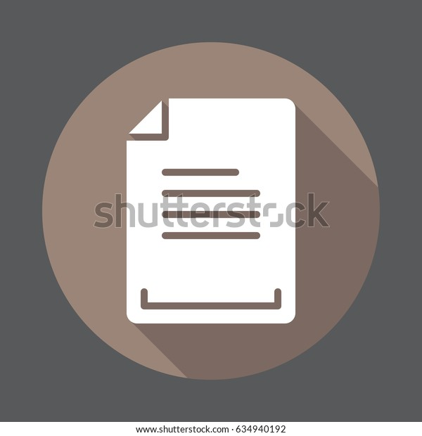 Text document flat icon. Round colorful button, circular vector sign with long shadow effect. Flat style design