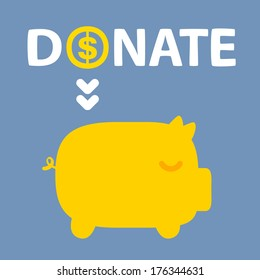 text donation above golden piggy on blue background
