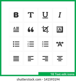 Text edit icon set. Vector white pictograms for web, mobile, business: bold, normal, italic, font, ubderline, letter, cut, keyboard, language, page, kerning, numder,