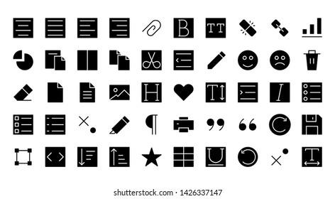 Text Editor Interface glyph icon symbol set