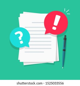 Text file or document comments and remarks notice vector illustration, flat cartoon warning or caution alert messages on paper letter content, attention notification chat error and question bubbles