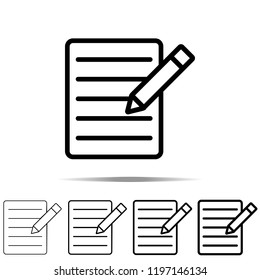 The text file with pencil icon in different shapes, thickness. Simple outline vector of web for UI and UX, website or mobile application
