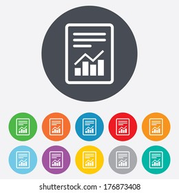 Text file sign icon. Add File document with chart symbol. Accounting symbol. Round colourful 11 buttons. Vector