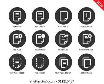 Text files and notes vector icons set. Document and papers concept. Office tools and items, notes, text files, group files and hidden files. Isolated on white background