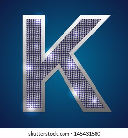 "Text font ""K"" set in diamonds and silver. Vector."