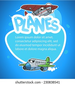 text frame with cartoon airplanes