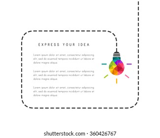 Text frame template with low poly lightbulb as creative idea concept