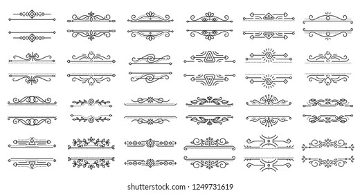 Text Frame thin line icons set. Outline sign border ornament kit. Vintage Design linear icon collection monogram elegant decor, ornate pattern. Simple black contour symbol isolated vector Illustration