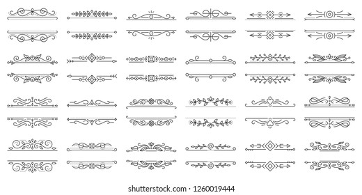 Text Frame thin line icons set. Outline sign border ornament kit. Linear collection of vintage design monogram template, ornate pattern. Simple flourish decor black symbol isolated vector Illustration