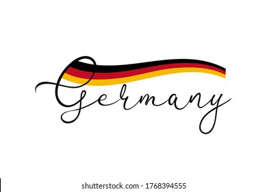 Text Germany with german national colors stripe. Black lettering on white background and Germany flag. Vector illustration