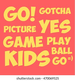 Text GO YES GAME GOTCHA and other comic style illustrations vector flat art