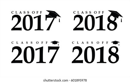 Text with graduation hat set sign illustration