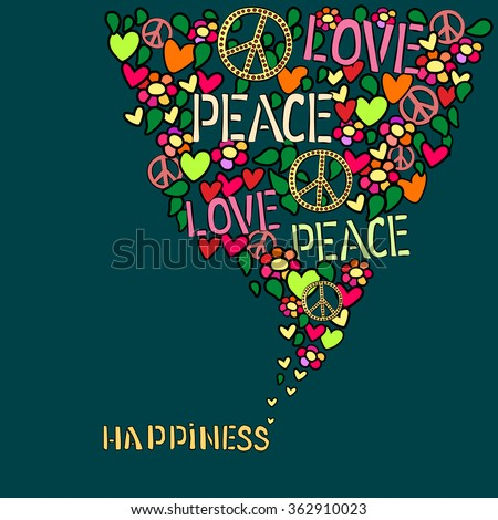 Text Happiness Love Peace Pacifism Symbol Stock Vector Royalty Free Fascinating Love Peace Happiness