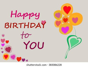 Text Happy Birthday on an isolated white background. Flower fantasy.  A heart. Vector illustration.