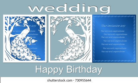 Text - happy birthday, wedding. vector, laser-beam cutting, bird, peacock, firebird, tail, feather. Tree, oak, leaf. Greeting card
