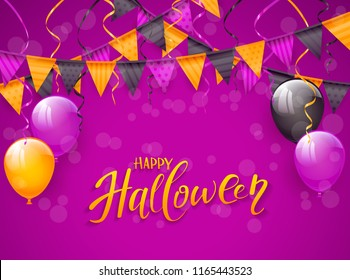 Text Happy Halloween on an purple background with balloons, pennants and streamers, illustration.