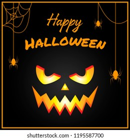 text Happy Halloween on scary background with a sinister face pumpkin and hanging spiders on spider web