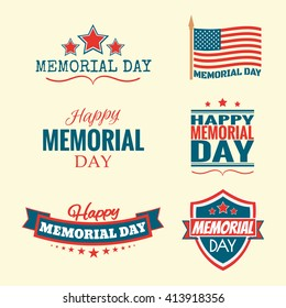Text Happy Memorial Day set flag and stars vector illustration design banner or a stamp on white background EPS 10