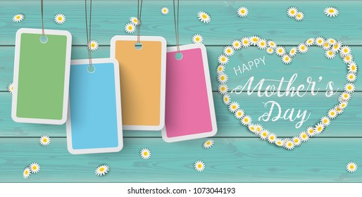 Text Happy Mothers Day with daisy flowers heart and price stickers on the wooden table.  Eps 10 vector file.
