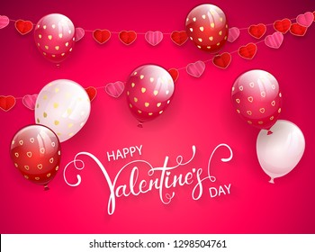 Text Happy Valentine's Day on pink background with flying balloons and pennants in the form of hearts, illustration.