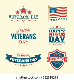 Text Happy Veterans Day set flag and stars vector illustration design banner or a stamp on white background EPS 10