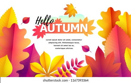 Text Hello Autumn and space for text. Autumn sale flyer template for your text. Vector Background of bright falling red, yellow and golden autumn leaves of oak, aspen, chestnut, rowan. Autumn banner