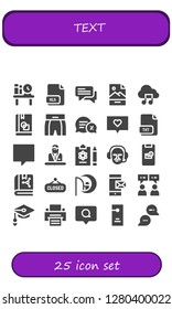 text icon set. 25 filled text icons. Simple modern icons about  - Bookshelf, Xls, Chat, Jpg, Music file, Book, Boxing shorts, Conversation, Txt, Commentator, Report, Message