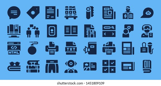 text icon set. 32 filled text icons. on blue background style Collection Of - Chat, Ebook, Html, Book, Price tag, Conversation, Bomb, Books, Contract, Printer, Boxing shorts, Bookshelf