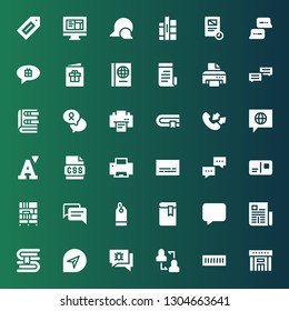 text icon set. Collection of 36 filled text icons included Library, Book shelf, Discussion, Chat, Book, Newspaper, Message, Price tag, Bookcase, Postcard, Dialogue, Subtitles
