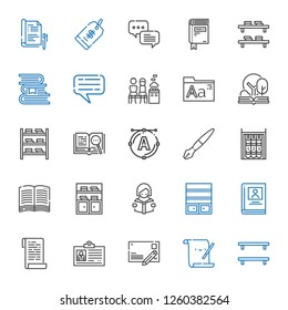 text icons set. Collection of text with bookshelf, parchment, postcard, id card, paper, biography, reading, book, fountain pen, font, open book. Editable and scalable text icons.
